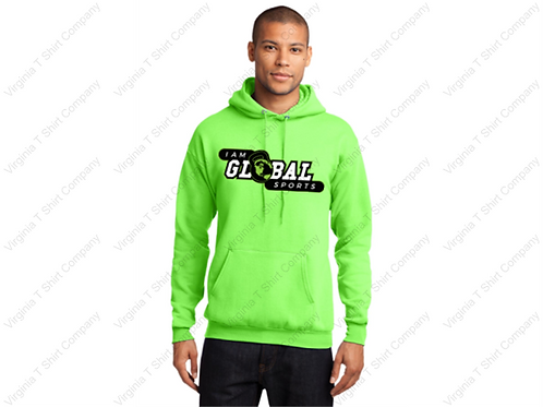 Cotton Hoodie with I Am Global Sports logo screen printed on front