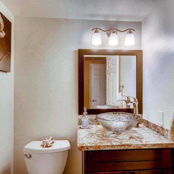 Hall Bath Downstairs. Single bowl Vessel Sink on an Espresso Vanity.