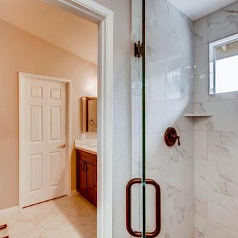 Master Bathroom Frameless Shower.