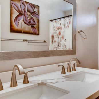 Hall Bath Sinks. Brushed Nickel Finish.