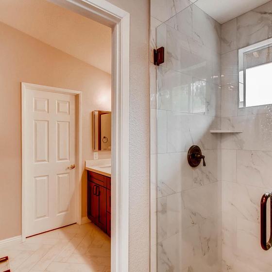 Marble Tile Shower.