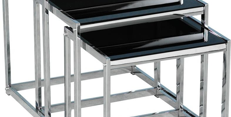 Novella Nest of Tables in Black Glass/Chrome