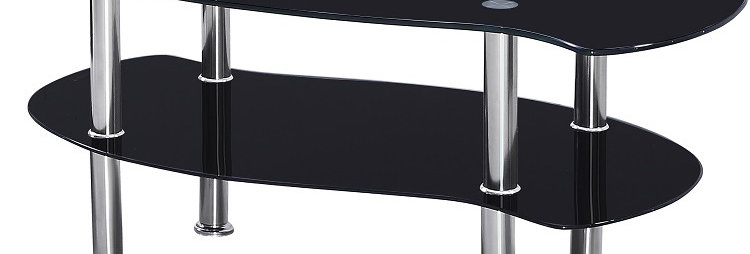 Colby Coffee Table in Black Glass/Silver