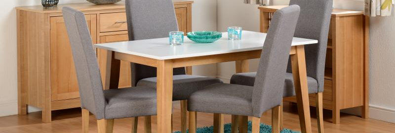 Rimini Dining Set in Natural Oak/White/Grey Fabric