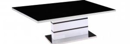 Black Painted Glass Top with High Gloss Frame, Stainless Steel Base, 1200W x 600