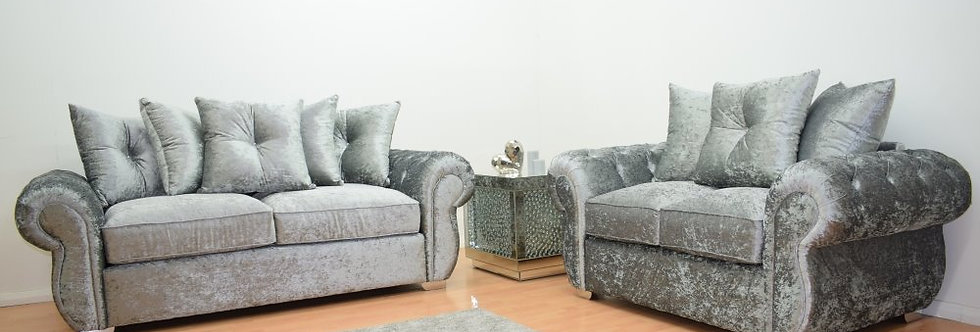 Windsor 3 Seater and 2 Seater Sofa - Silver