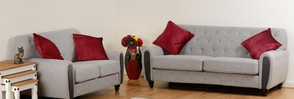 Chester 3+2 Suite in Light Grey Fabric