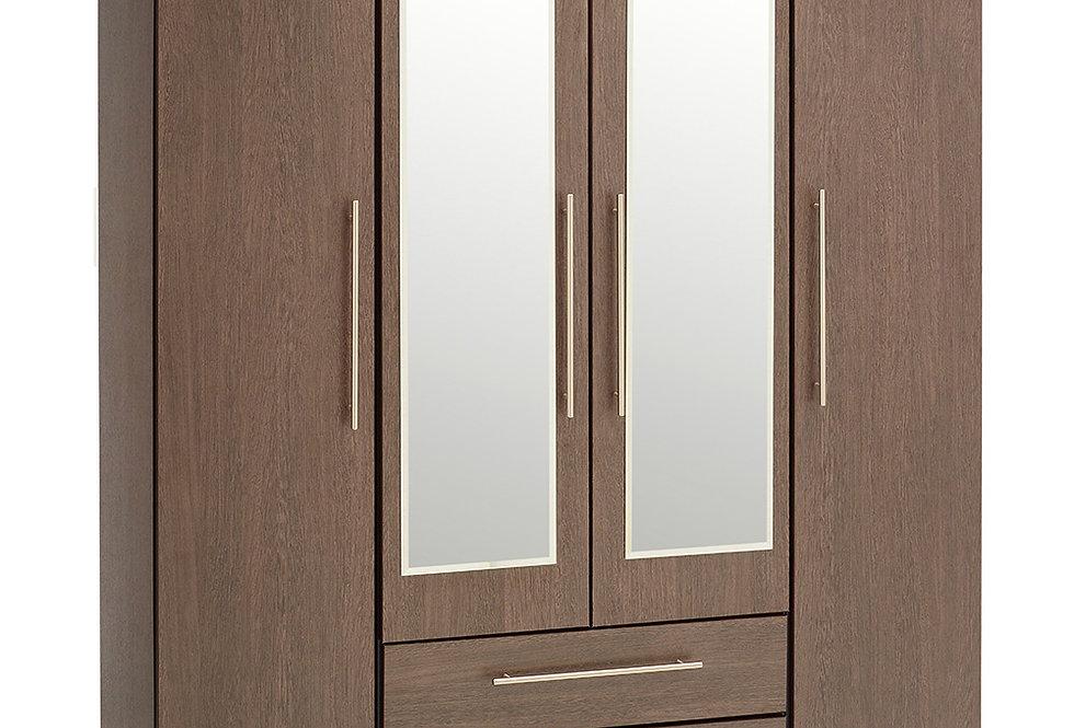 New York Wenge 4 Door 2 Drawer 2 Mirror Wardrobe