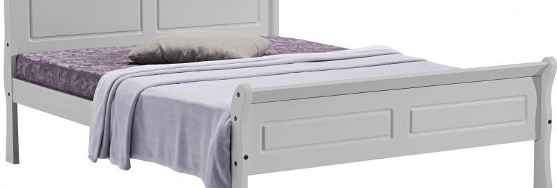 "Georgia 4'6"" Sleigh Bed in Grey"