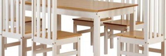 Ludlow 1+4 Dining Set in White/Oak Lacquer