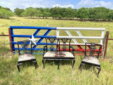 Texas Flag Gate Cowhide Chairs