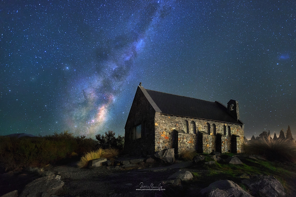 Milky way rise over Church of the Good Shepherd