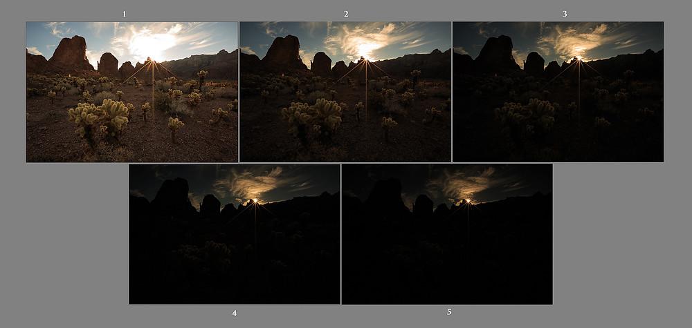 5 exposures (sunstar included) brightest - darkest