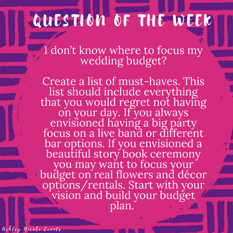 Question of the Week- I don't know where to focus my wedding budget?