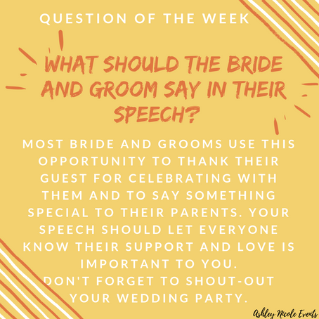Question of the Week- What should the Bride and Groom say in their speech?
