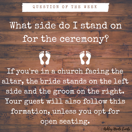Question of the Week- What side do I stand on for the ceremony?