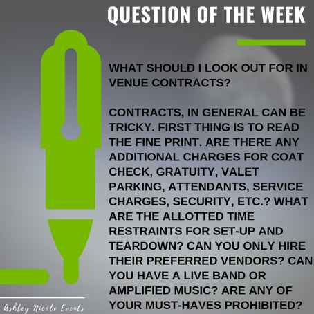 Question of the Week- What should I look out for in venue contracts?