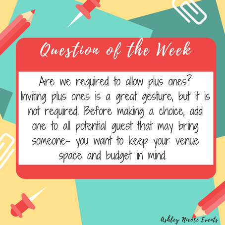 Question of the Week- Are we required to allow plus ones?