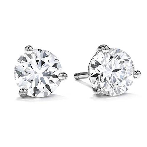 18 Karat White Gold .70ctw Three Prong Stud Hearts On Fire Earrings