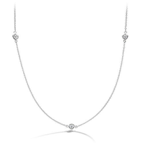 18 Karat White Gold .21ctw Optima Station Diamond Hearts On Fire Necklace