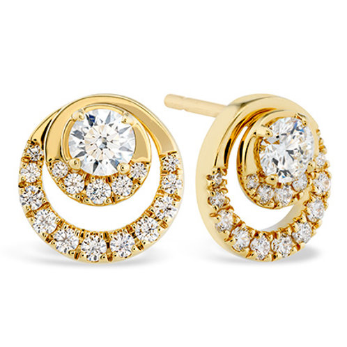 18 Karat Yellow Gold Optima .80ctw Diamond Stud Heart On Fire Earrings