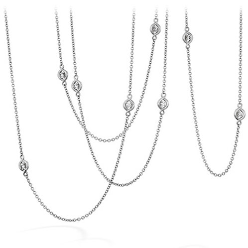 18 Karat White Gold .58ctw Optima Station Hearts On Fire Necklace