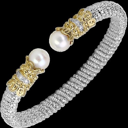 14 Karat Yellow Gold and Sterling Silver Pearl and Diamond Alwand Vahan Bangle