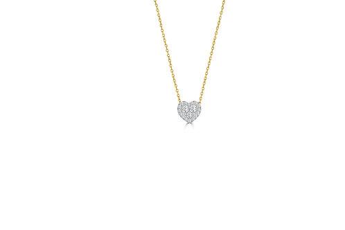 14k Two-Tone Diamond Heart Pendant