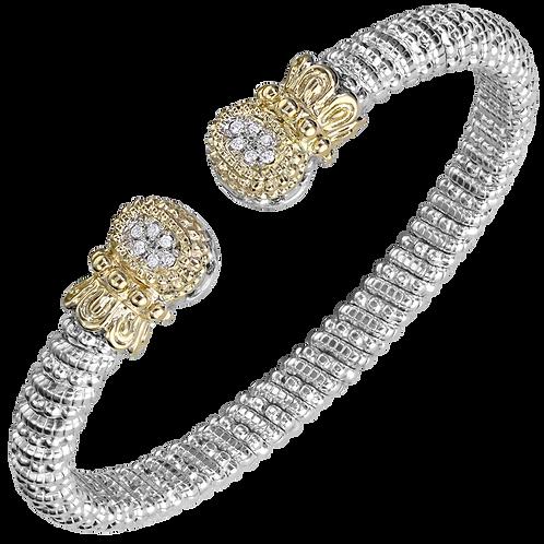 14 Karat Yellow Gold and Sterling Silver .09 Carat Alwand Vahan Bangle