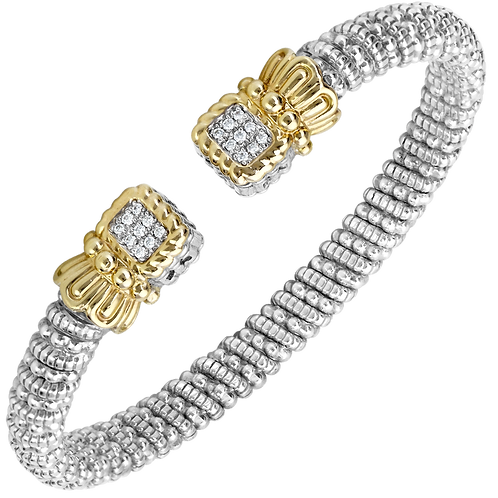 14k Gold and Silver Bracelet with diamonds
