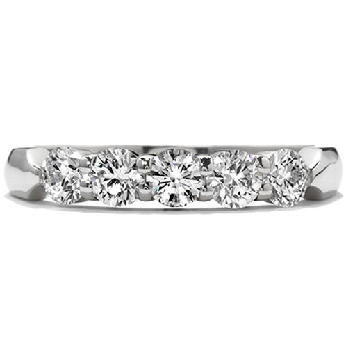 18 Karat White Gold Five Stone .53ctw Hearts On Fire Diamond Band