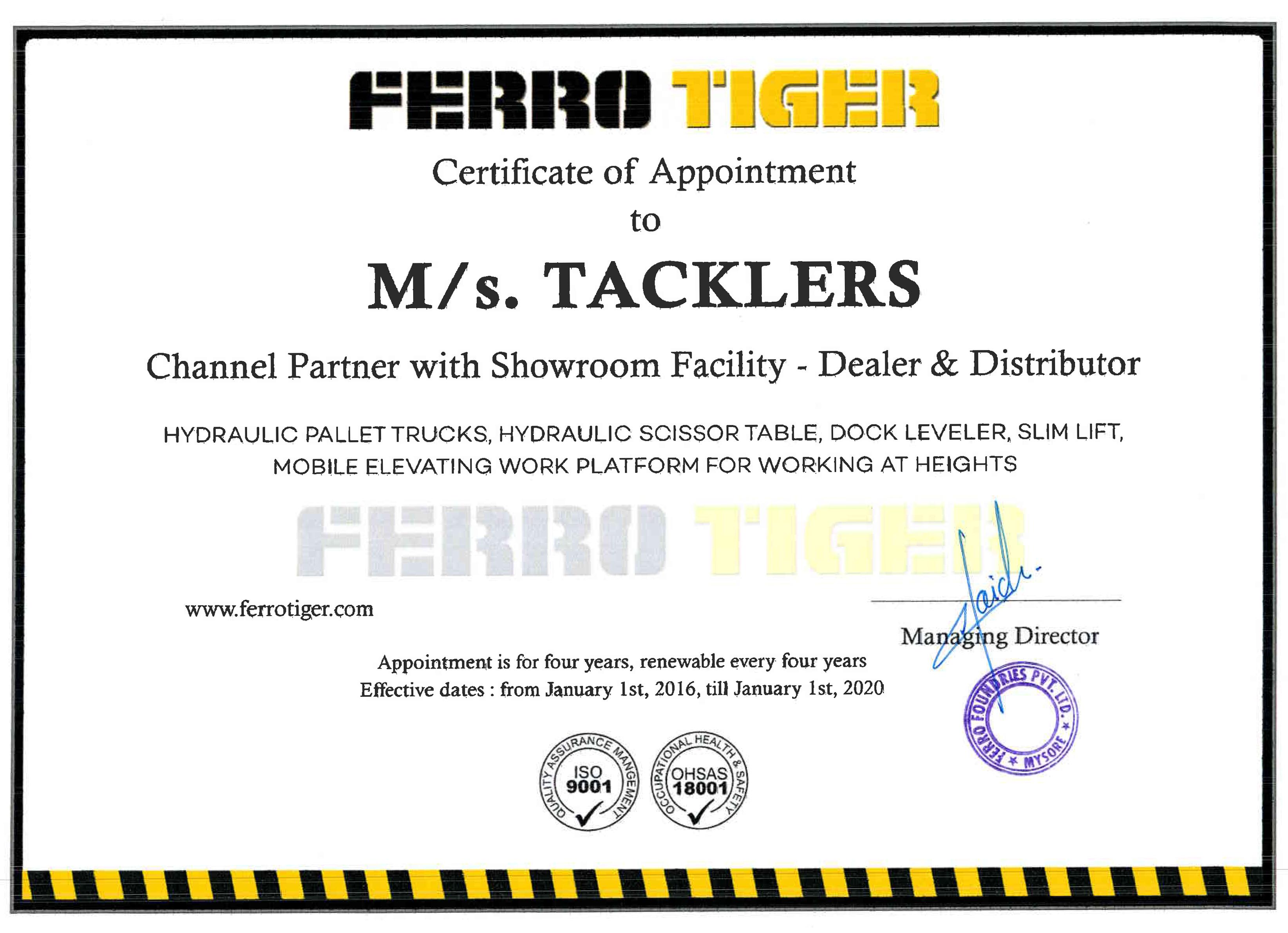 Ferro Tiger Certificate