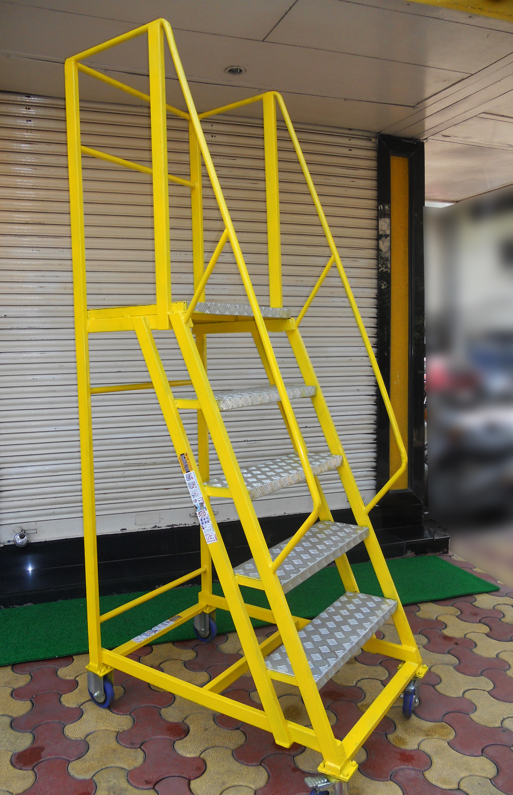 Trolley Step Ladder With Railings And Large Standing platform