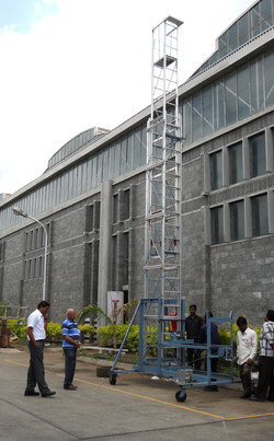 Telescopic Tilting Tower Ladder in Extended Condition