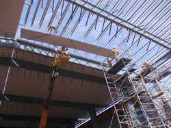 Using Scaffolds for roofing work with wheels in rails for fast movement 1