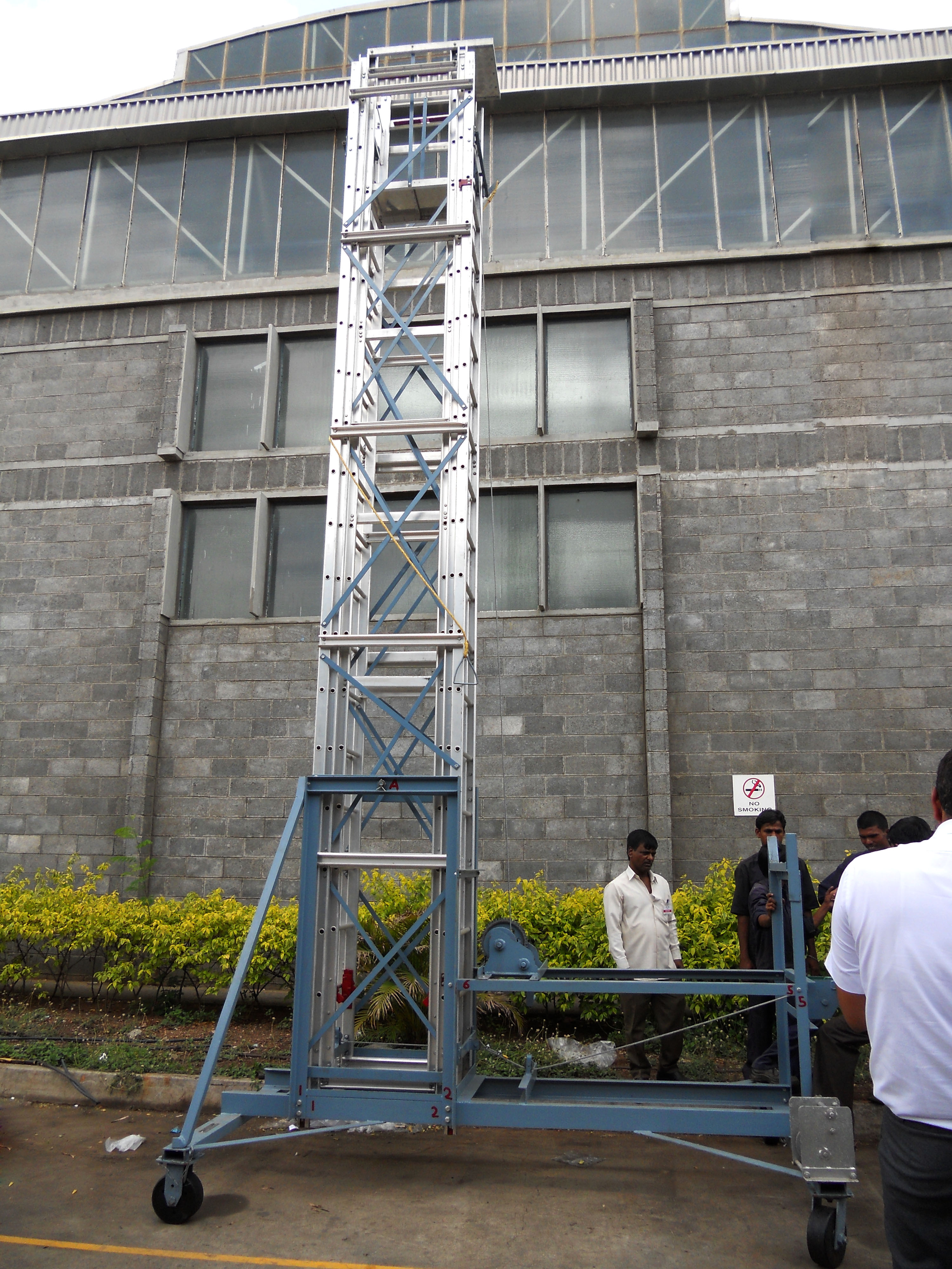 Telescopic Tilting Tower Ladder in closed condition