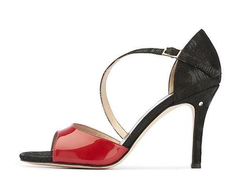 Madame Pivot CHARLOTTE Red patent - black moiree