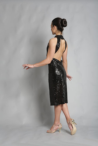 Tango Moment Black Sequined Dress