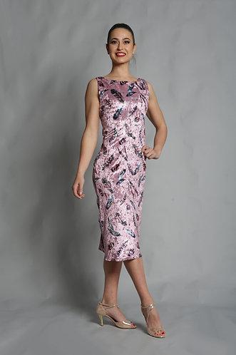 Tango Moment Velvet Dress - Pink Floral