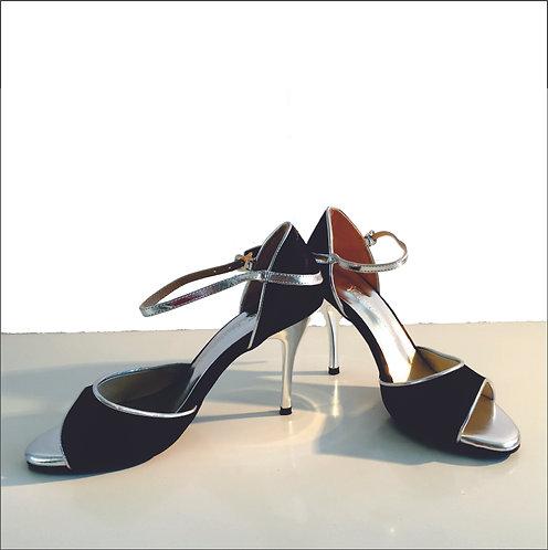 Tango Moment Black Satin Suede Sole - 8.5 cm
