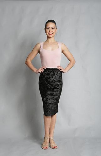 Tango Moment Velvet Pencil Skirt Black