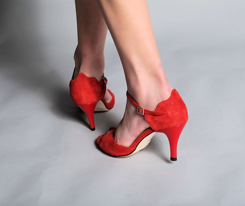 Tango Moment Red Suede Leather Sole - 5cm/7.5cm/9cm