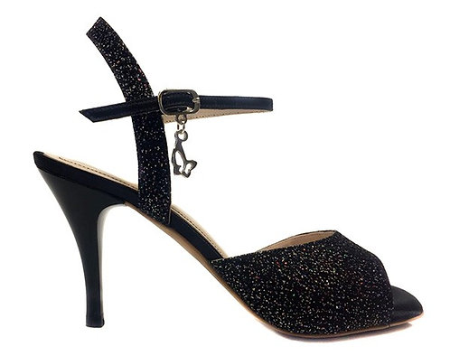 M10 BLACK & GLITTER- SOFT SOLE - 7.5CM