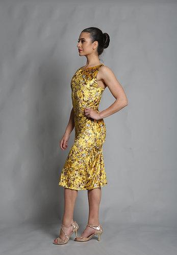 Tango Moment Velvet Dress - Yellow Print