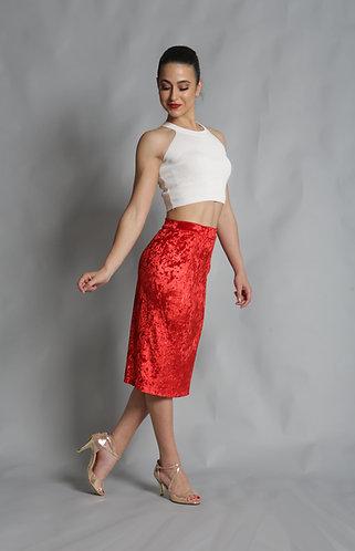 Tango Moment Velvet Pencil Skirt Red