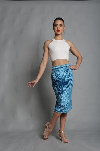 Tango Moment Velvet Pencil Skirt Blue