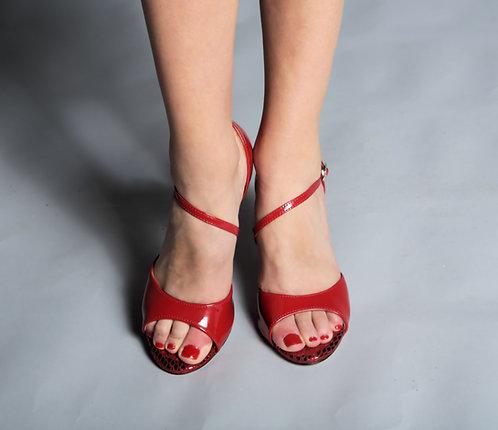 Tango Moment Red Patent Diagonal Strap 5cm/7.5cm/9cm