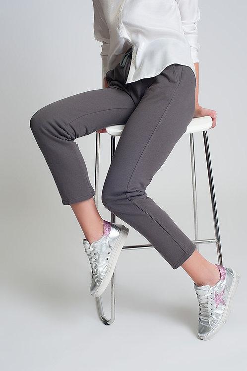 Straight Leg Sweatpants in Cotton in Gray
