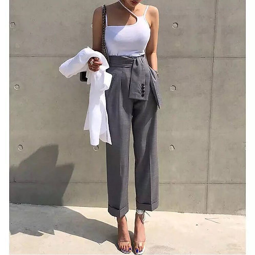 Women Pants Casual High Waist Trousers High Fashion Straight Feminino Gray