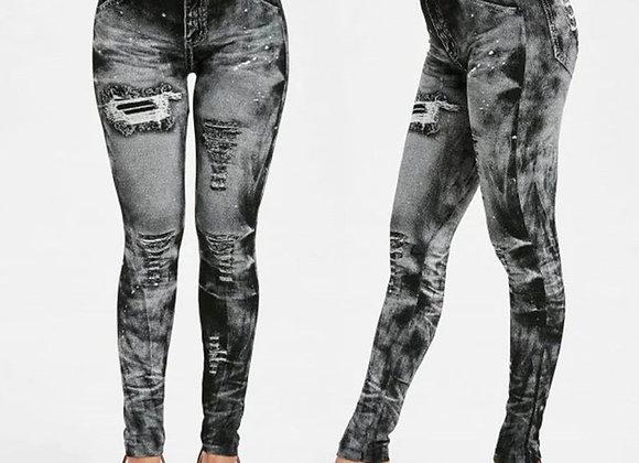 Distressed Denim Jeans Leggings
